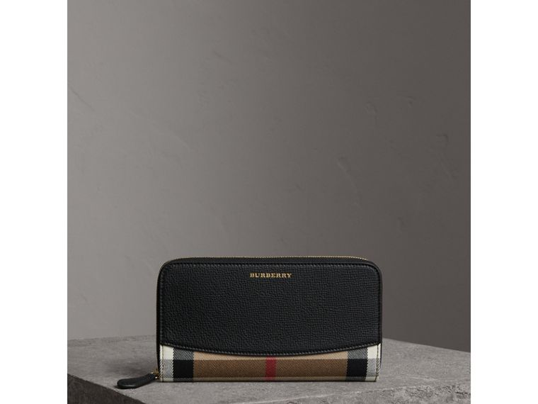 House Check and Leather Ziparound Wallet in Black - Women | Burberry - cell image 4
