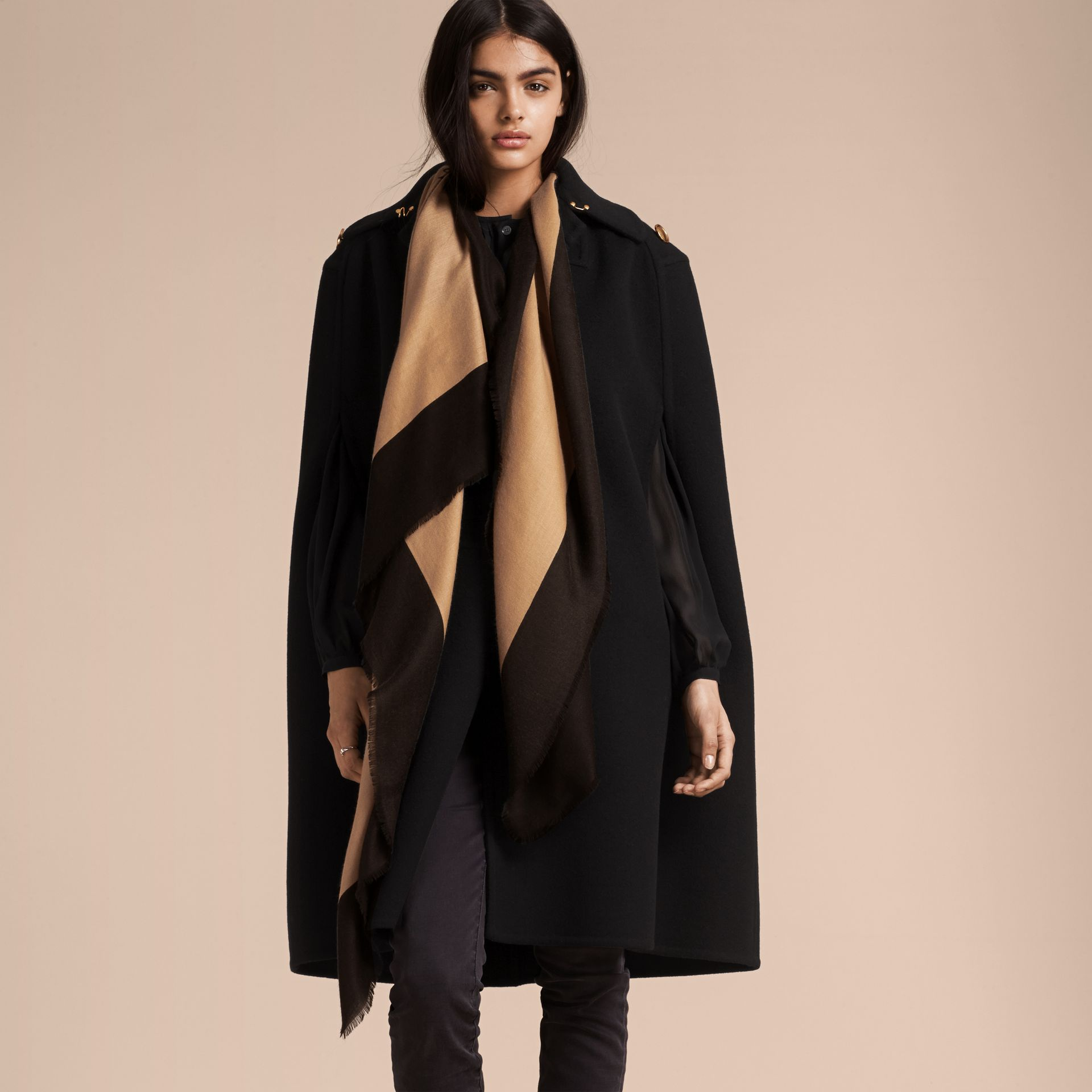 Camel/black Burberry Print Cashmere Scarf - gallery image 3