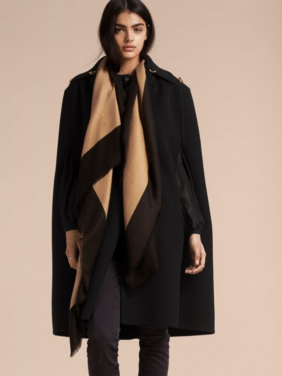 Camel/black Burberry Print Cashmere Scarf - cell image 2
