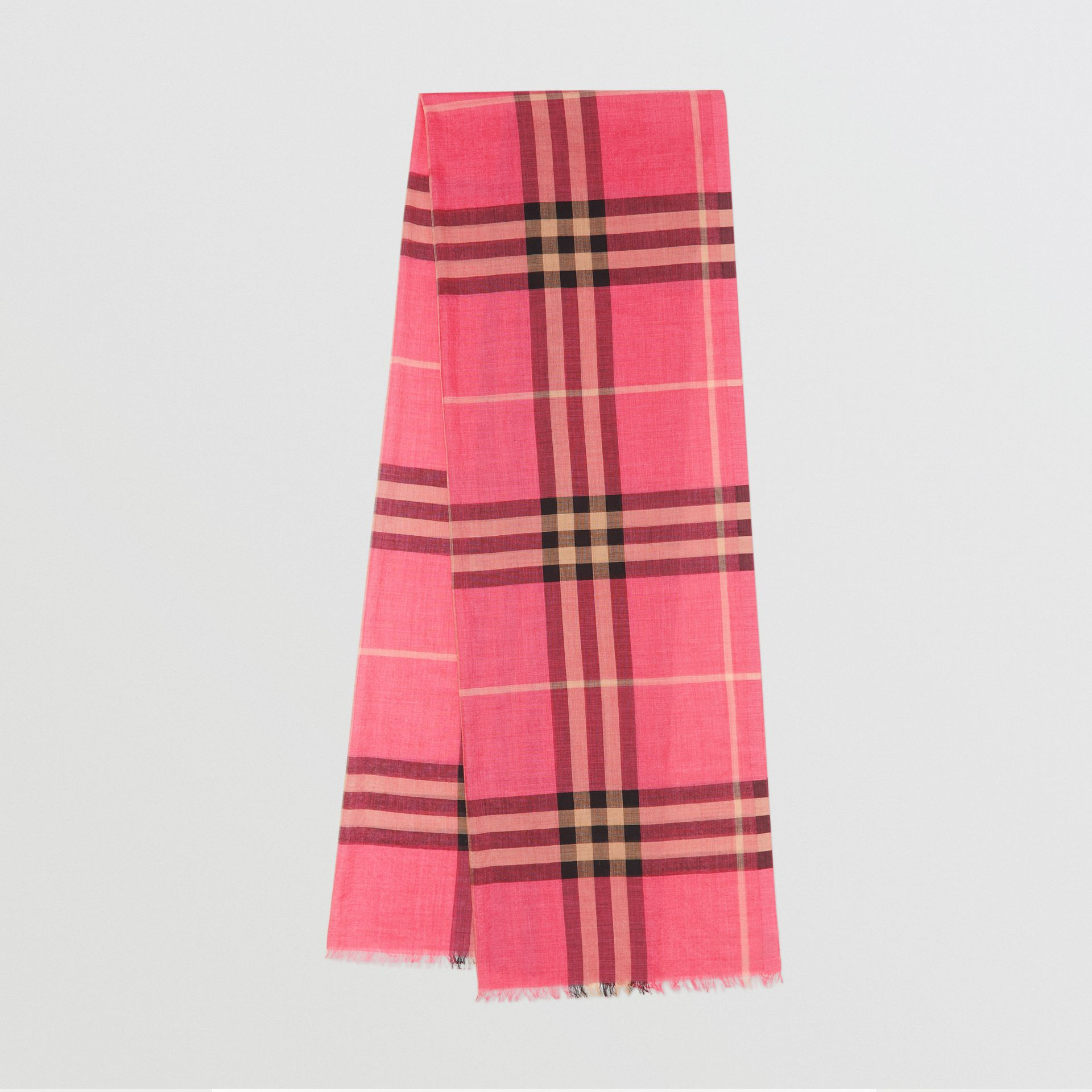 Lightweight Check Wool and Silk Scarf in Rose Pink | Burberry - gallery image 0