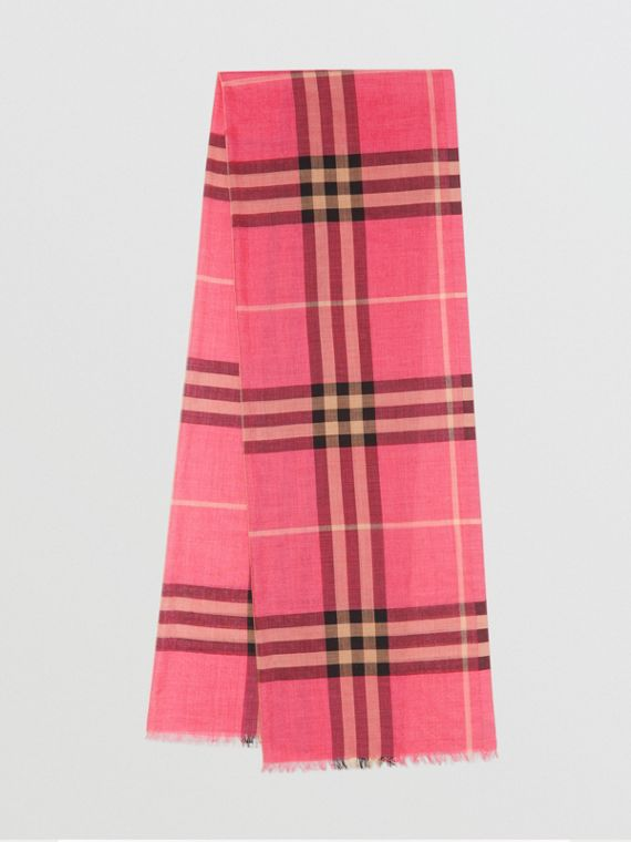 Lightweight Check Wool and Silk Scarf in Rose Pink