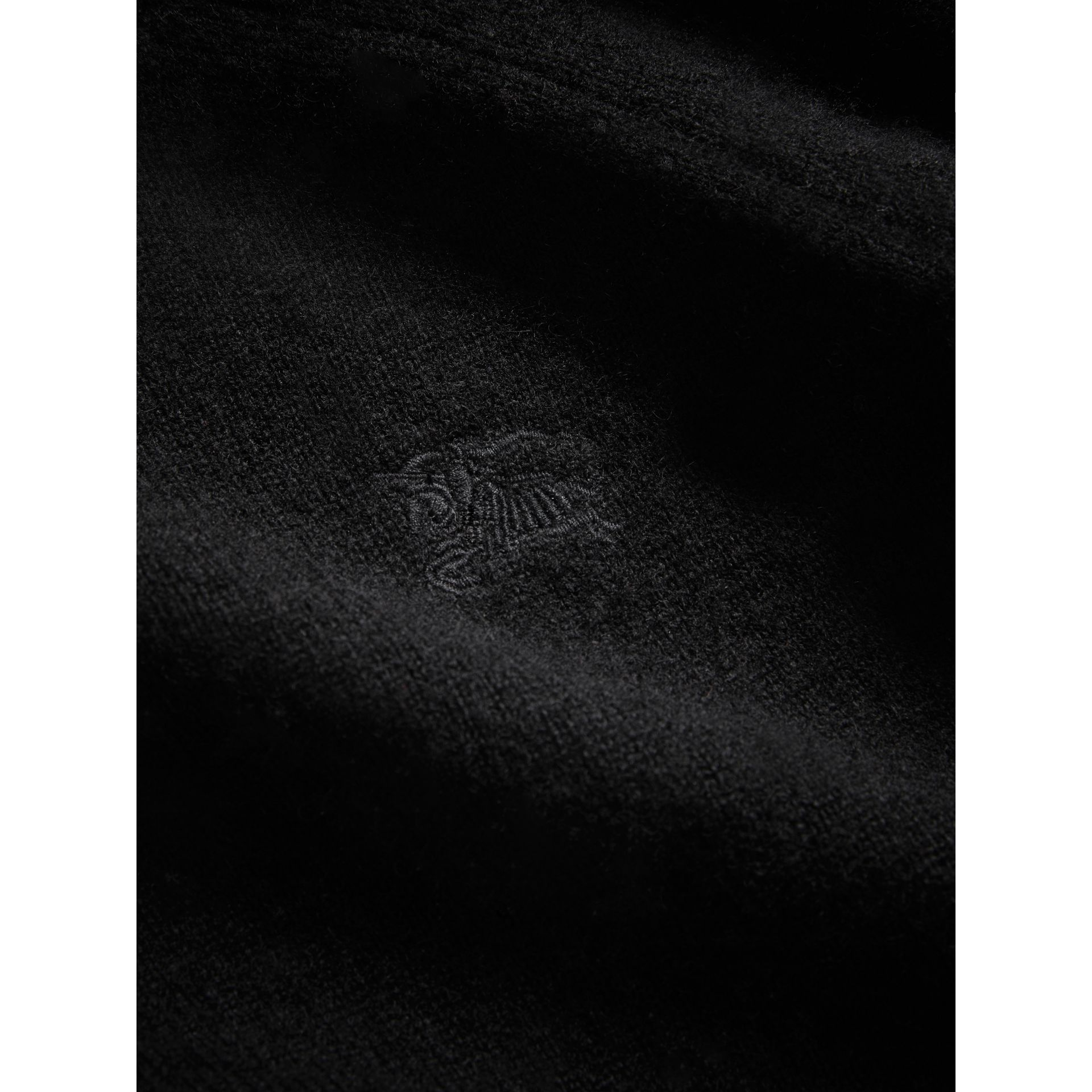 Check Detail Cashmere Sweater in Black - Girl | Burberry - gallery image 1