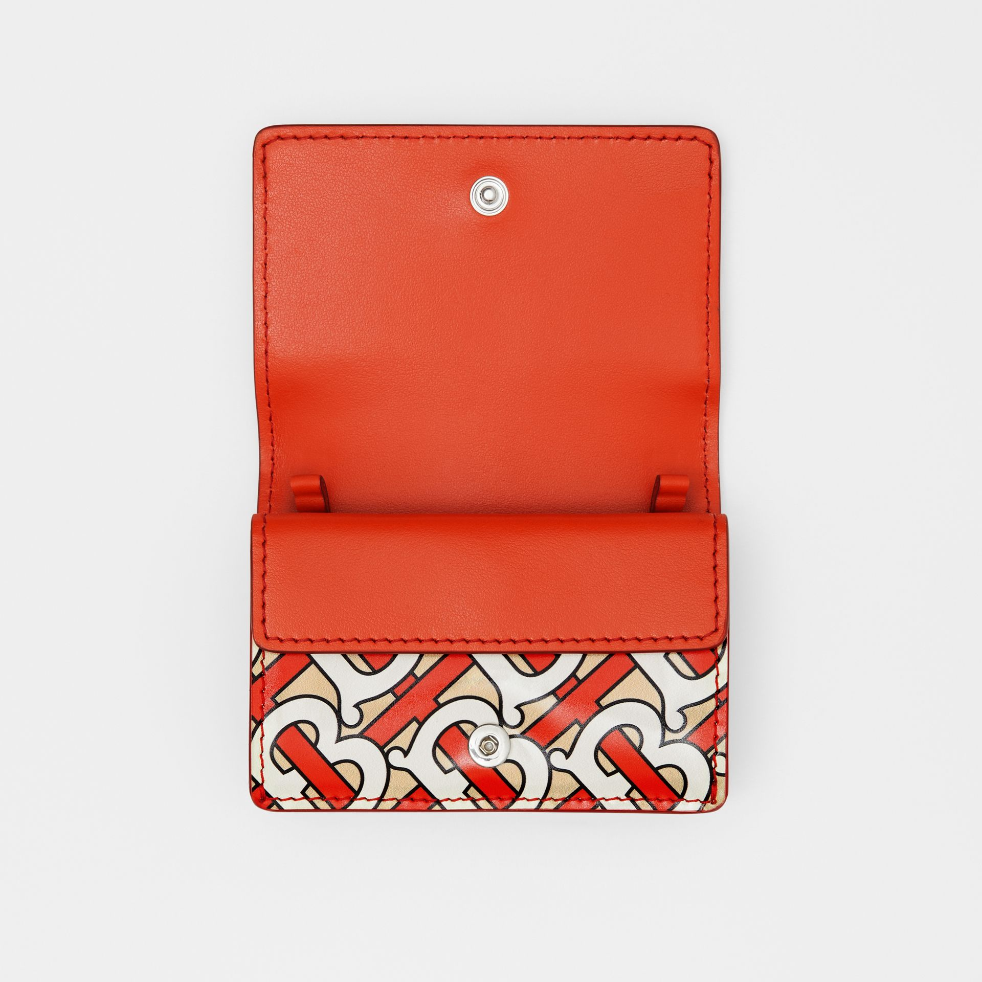 Monogram Print Card Case with Detachable Strap in Vermilion   Burberry - gallery image 8