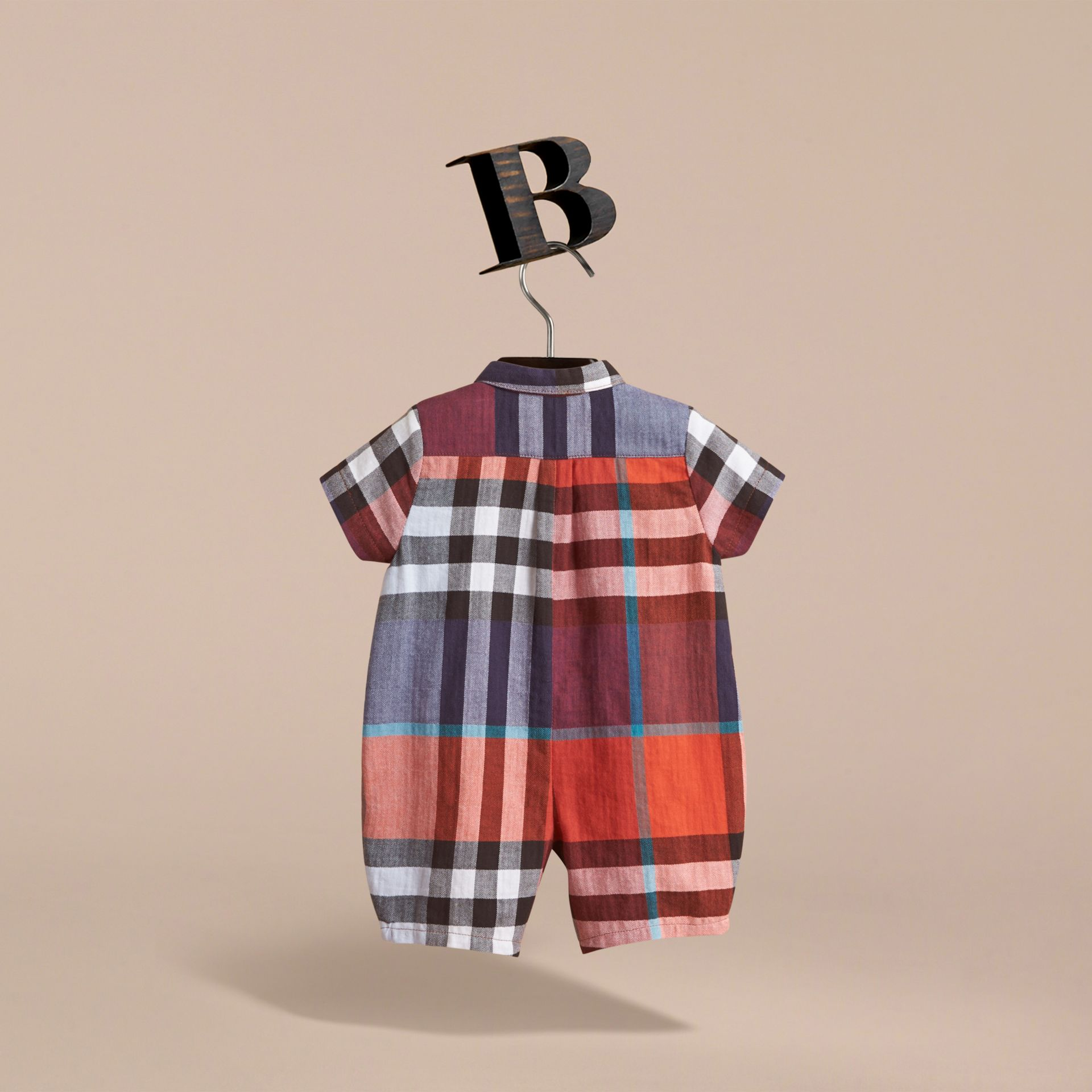 Check Cotton Playsuit in Ornge Red/cornflower Blue | Burberry - gallery image 4