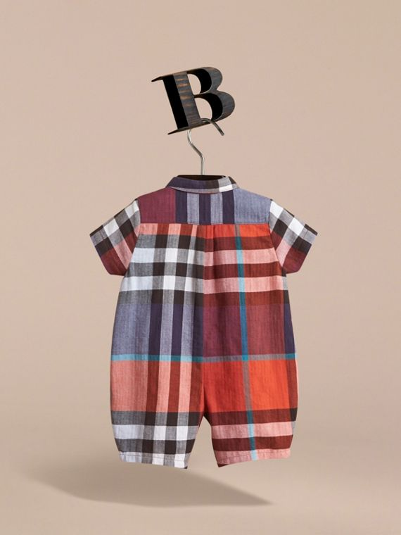 Check Cotton Playsuit in Ornge Red/cornflower Blue | Burberry - cell image 3