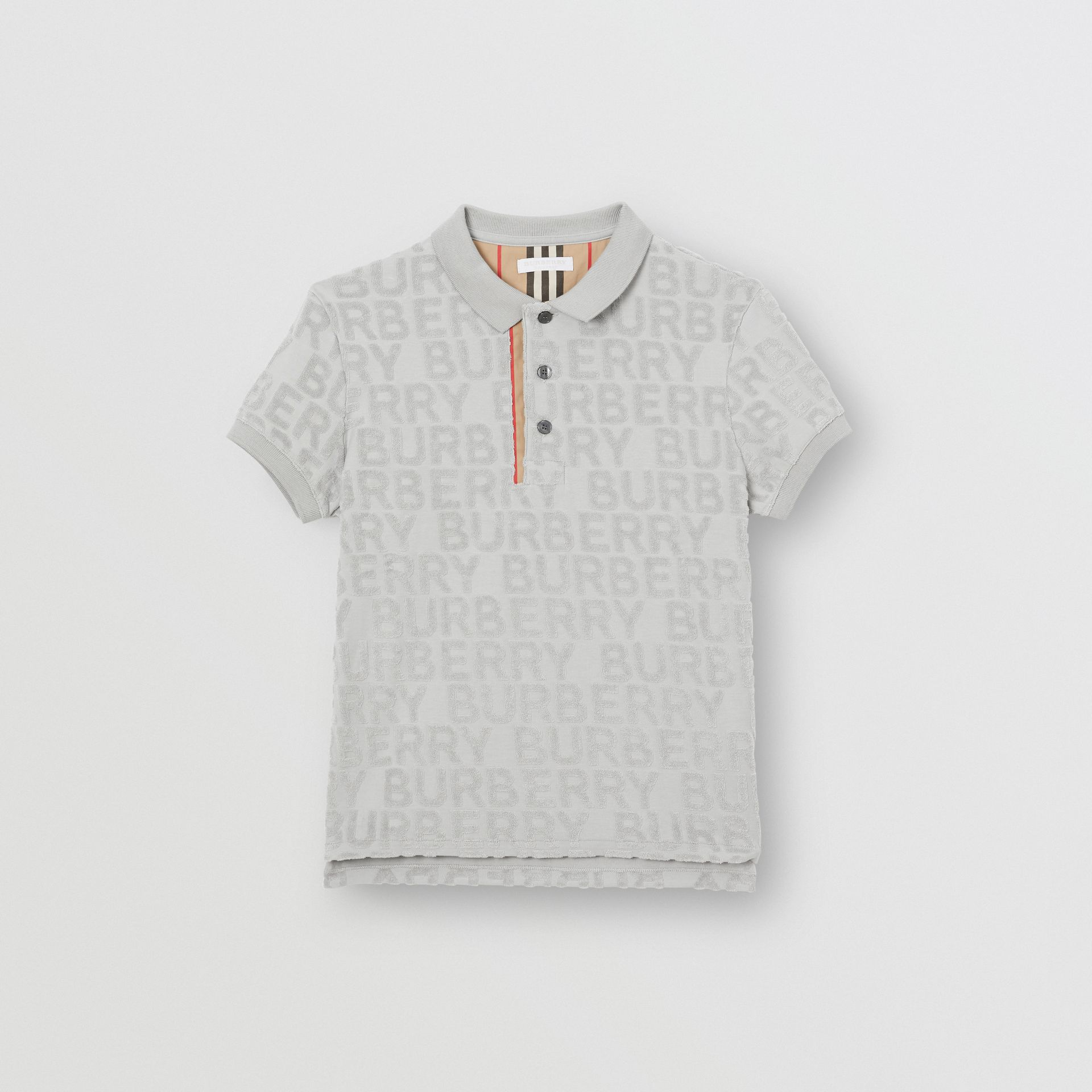Logo Towelling Polo Shirt in Pale Grey | Burberry Singapore - gallery image 0