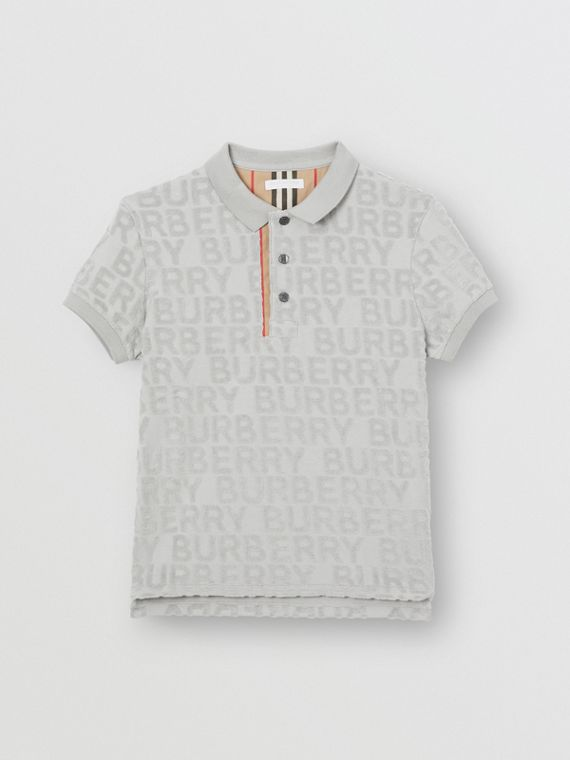 Logo Towelling Polo Shirt in Pale Grey