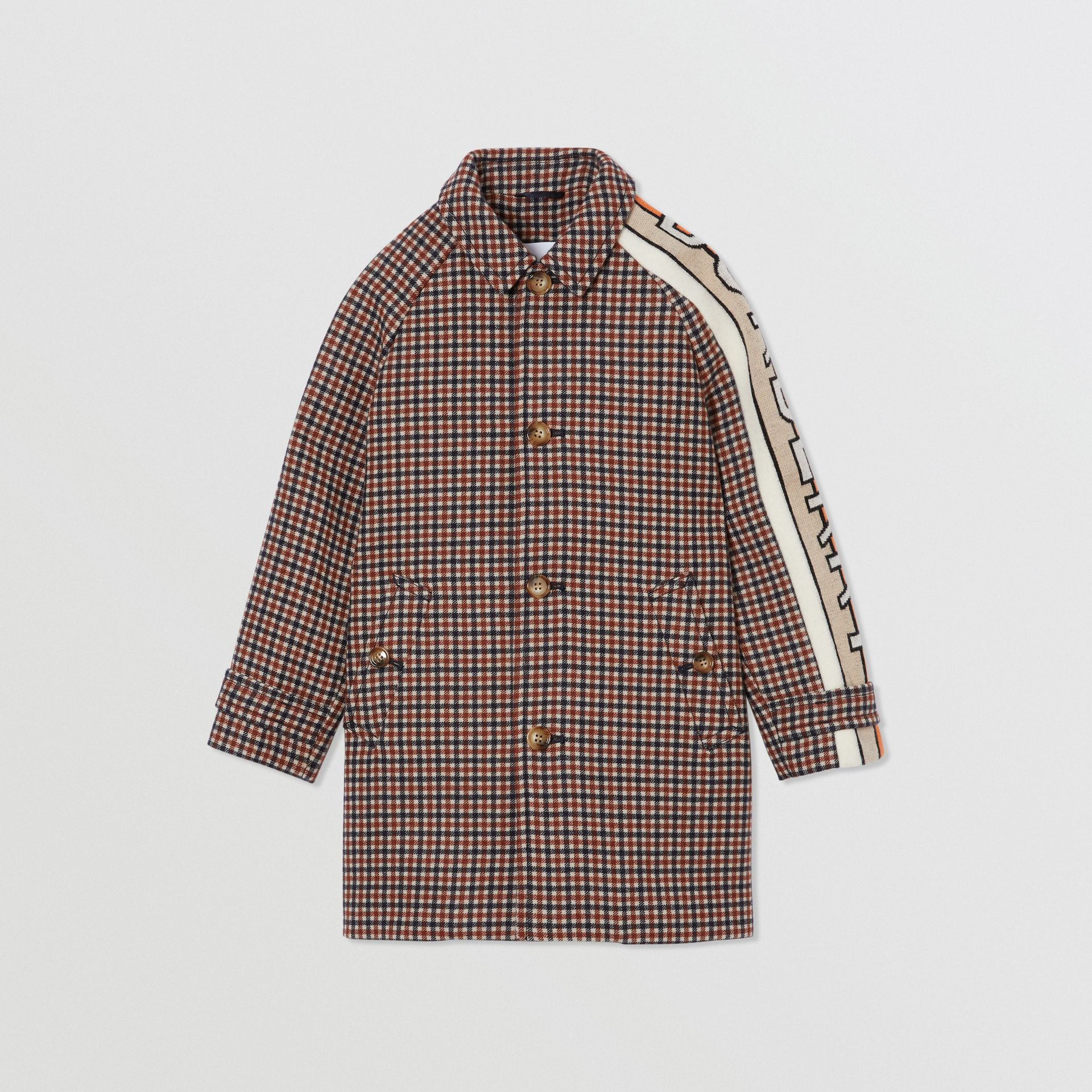 Logo Jacquard Check Wool Car Coat in Rust Brown | Burberry Australia - gallery image 0