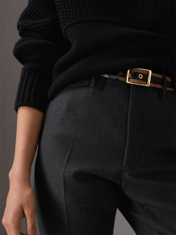 Reversible House Check and Grainy Leather Belt in Camel/black - Women | Burberry United Kingdom - cell image 2