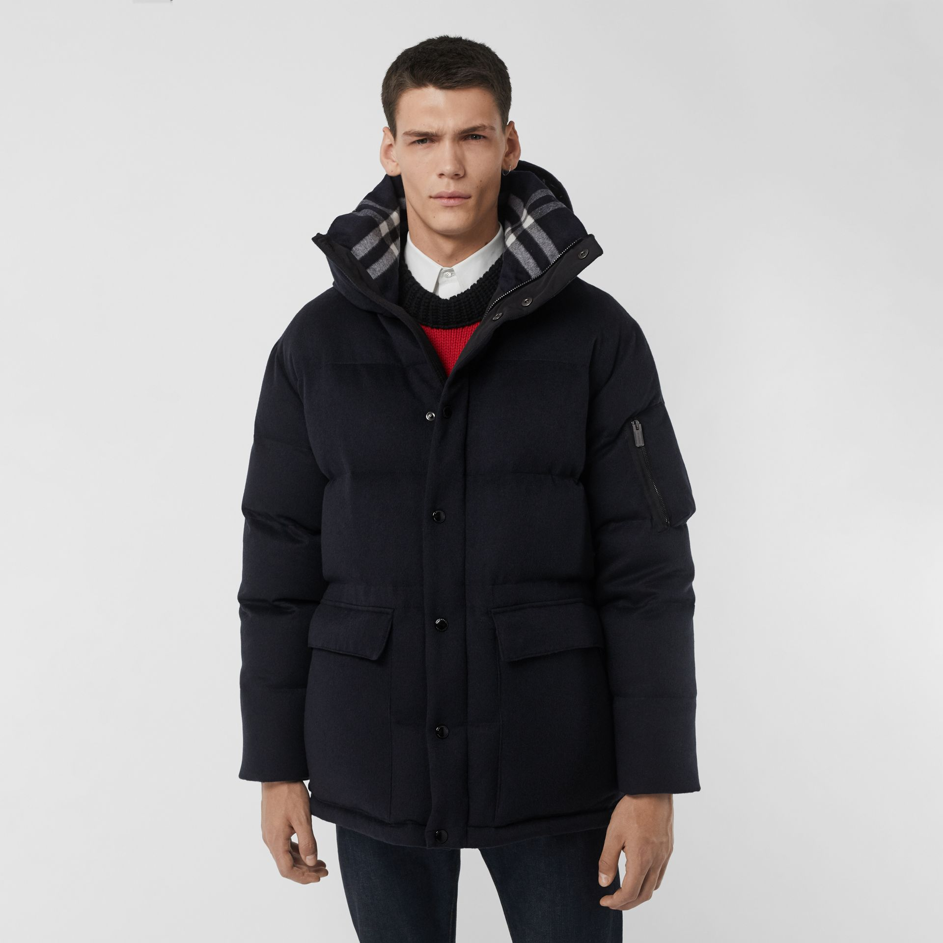 Cashmere Down-filled Hooded Jacket in Navy Melange - Men | Burberry - gallery image 5