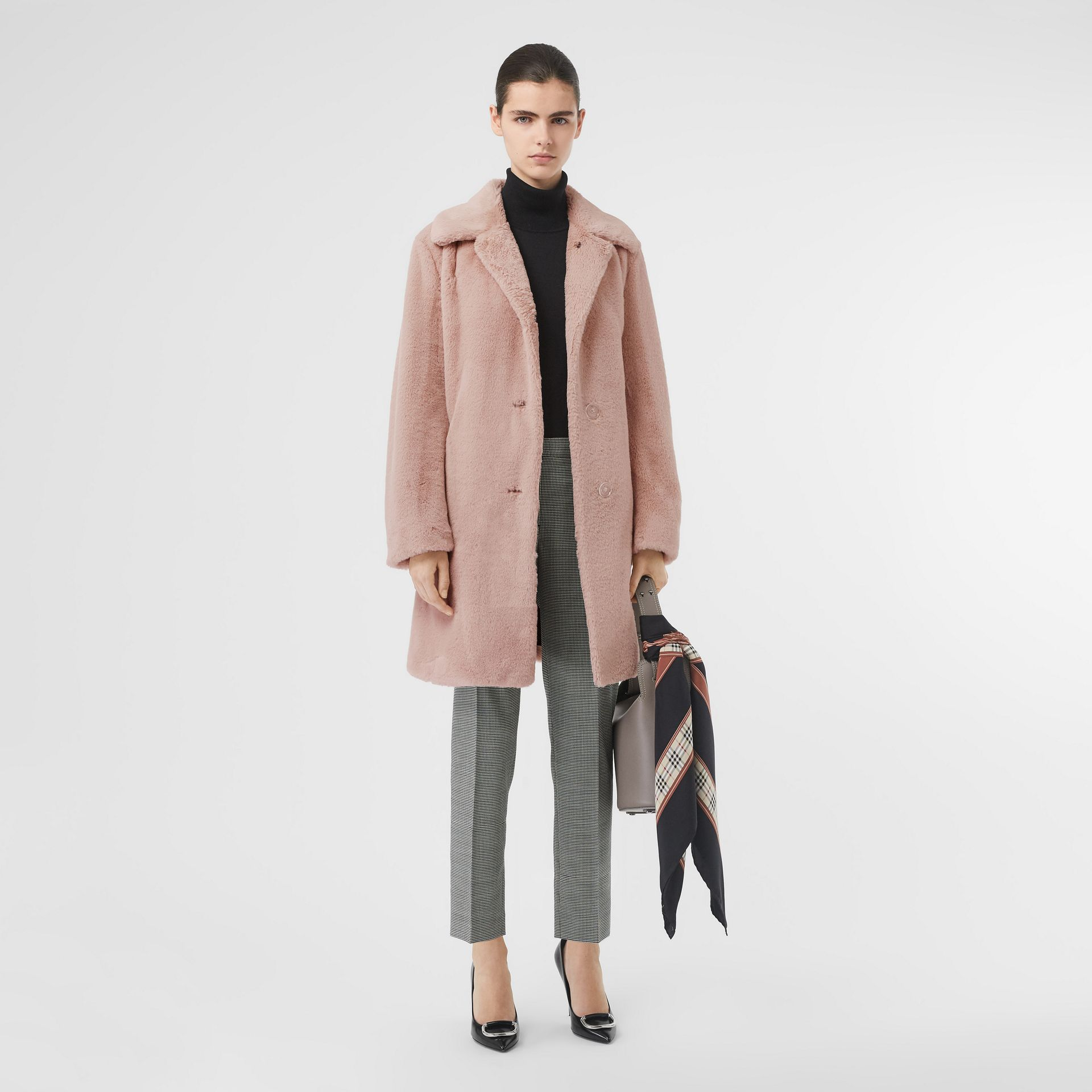 Faux Fur Single-breasted Coat in Pale Blush - Women | Burberry United States - gallery image 0