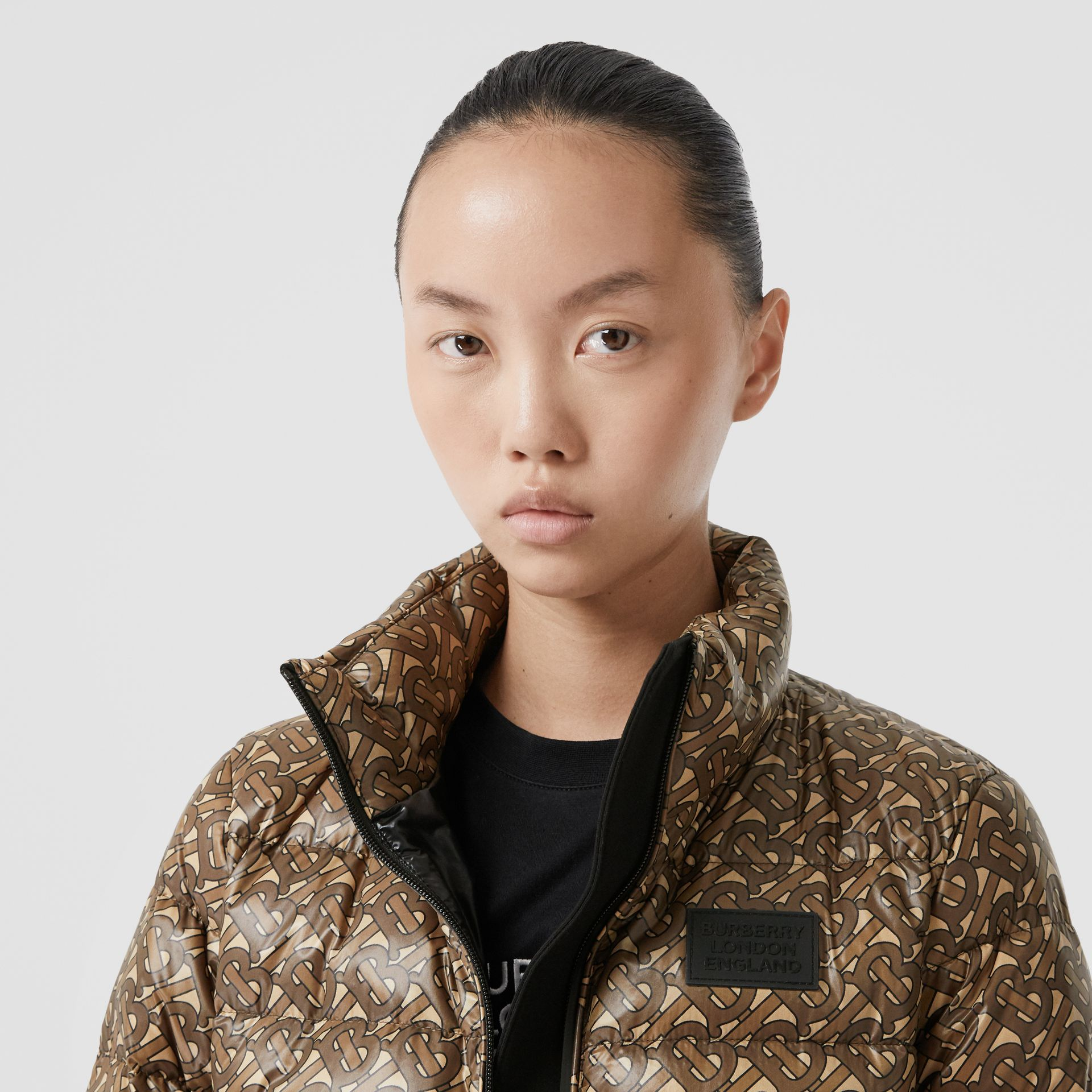 Monogram Print Nylon Puffer Jacket in Bridle Brown - Women | Burberry - gallery image 1