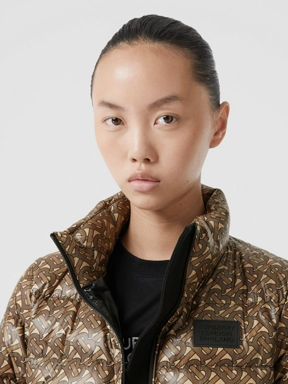 Monogram Print Nylon Puffer Jacket in Bridle Brown - Women | Burberry - cell image 1