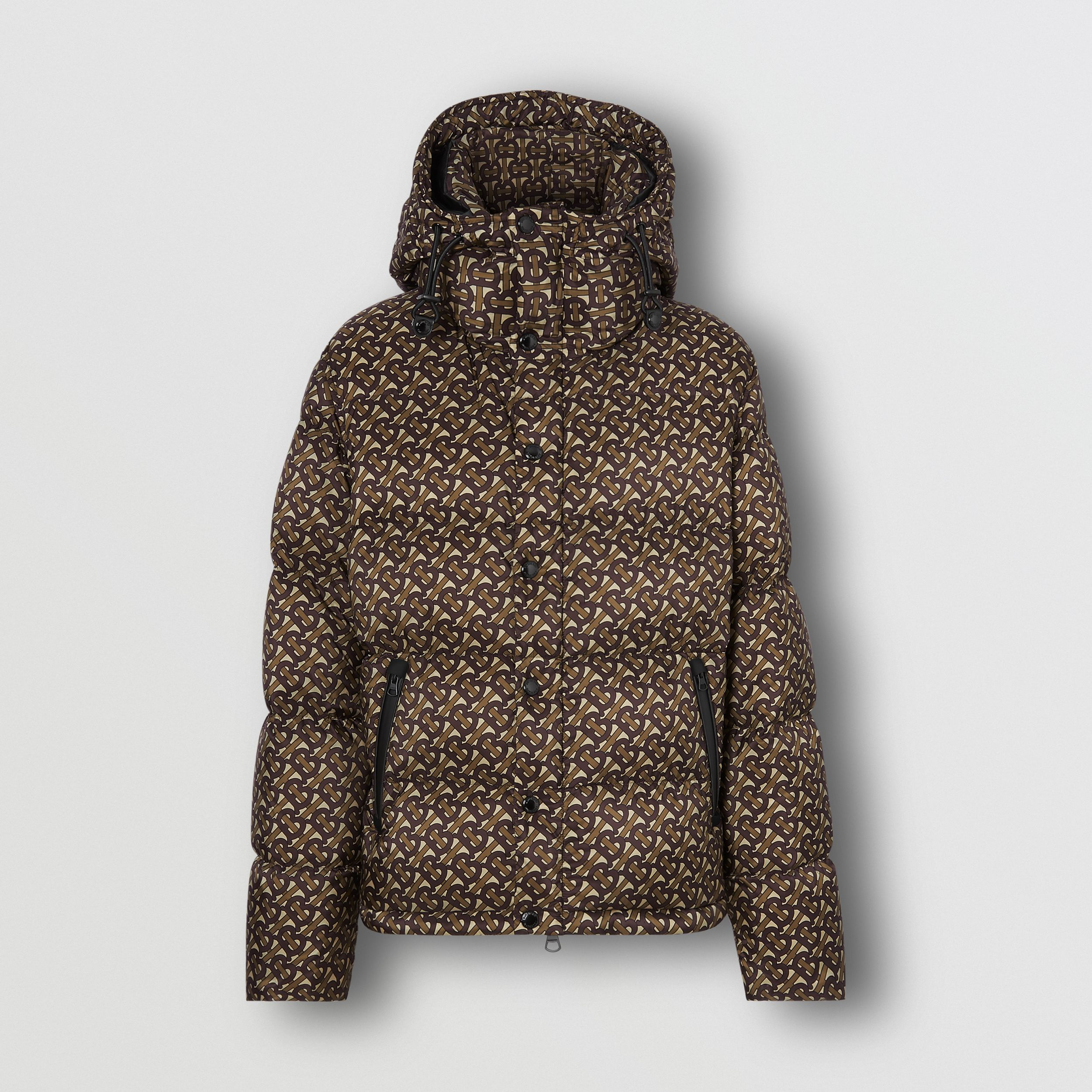 Detachable Sleeve Monogram Print Puffer Jacket in Bridle Brown - Men | Burberry - 4