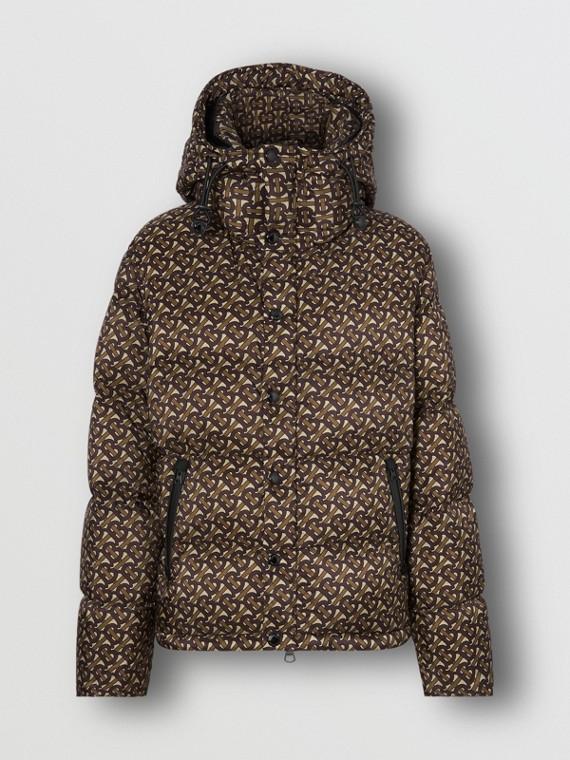 Detachable Sleeve Monogram Print Puffer Jacket in Bridle Brown