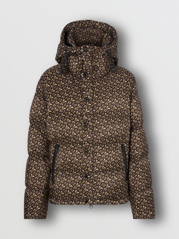 Detachable Sleeve Monogram Print Puffer Jacket in Bridle Brown - Men | Burberry - cell image 3