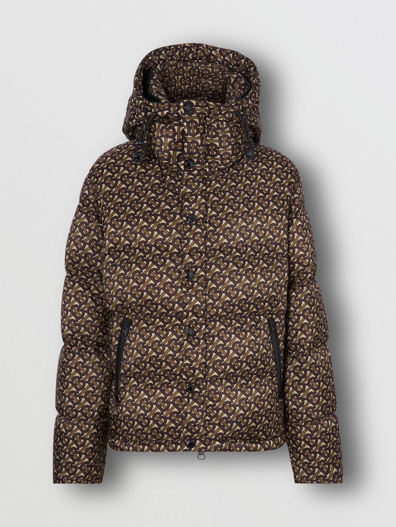 Detachable Sleeve Monogram Print Puffer Jacket in Bridle Brown