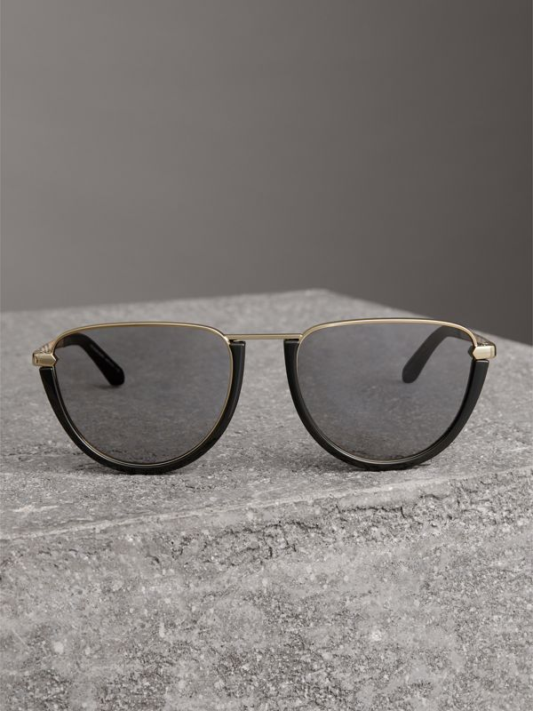 Half Moon Pilot Round Frame Sunglasses in Black - Women | Burberry - cell image 3
