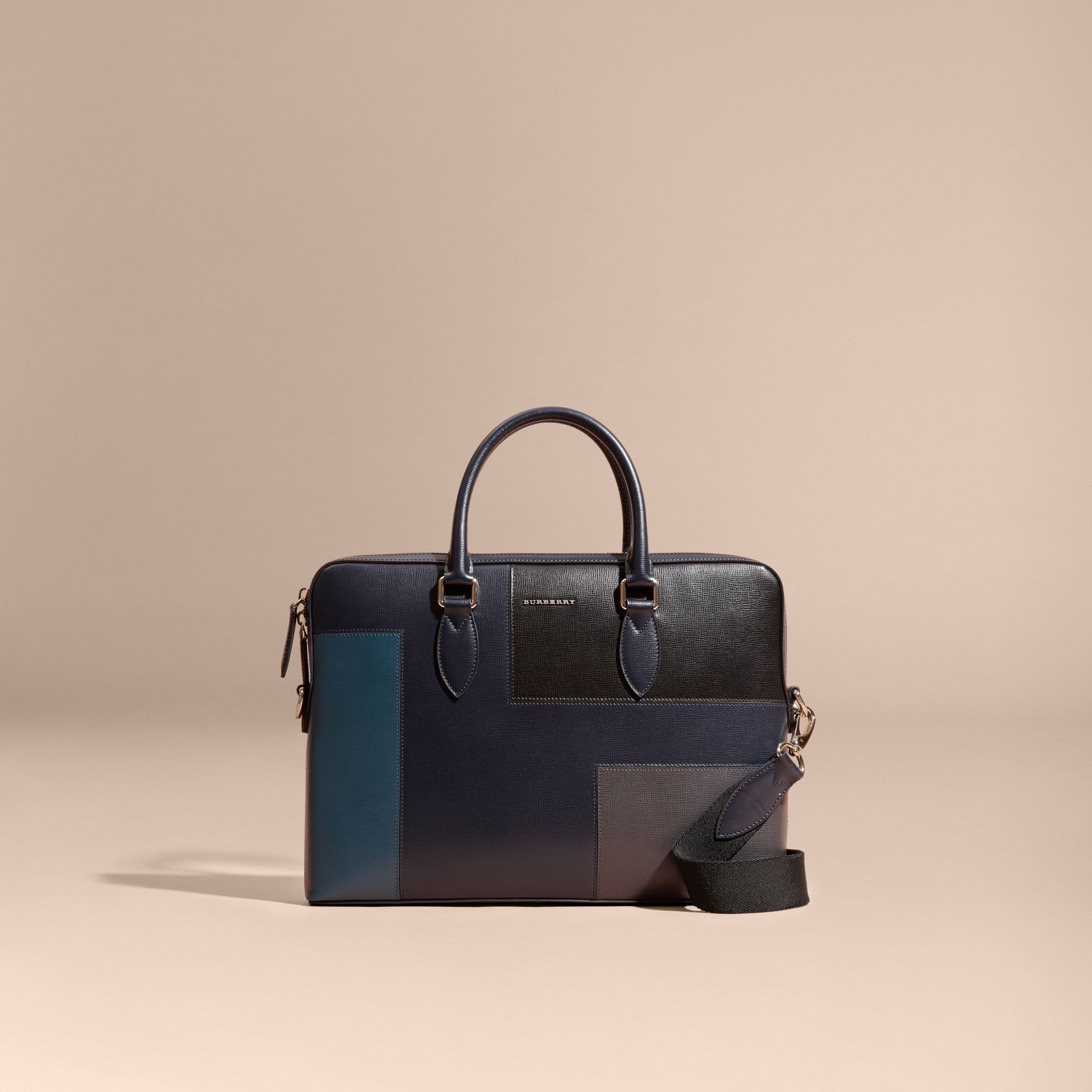 Dark navy The Slim Barrow Bag in Patchwork London Leather Dark Navy - gallery image 9