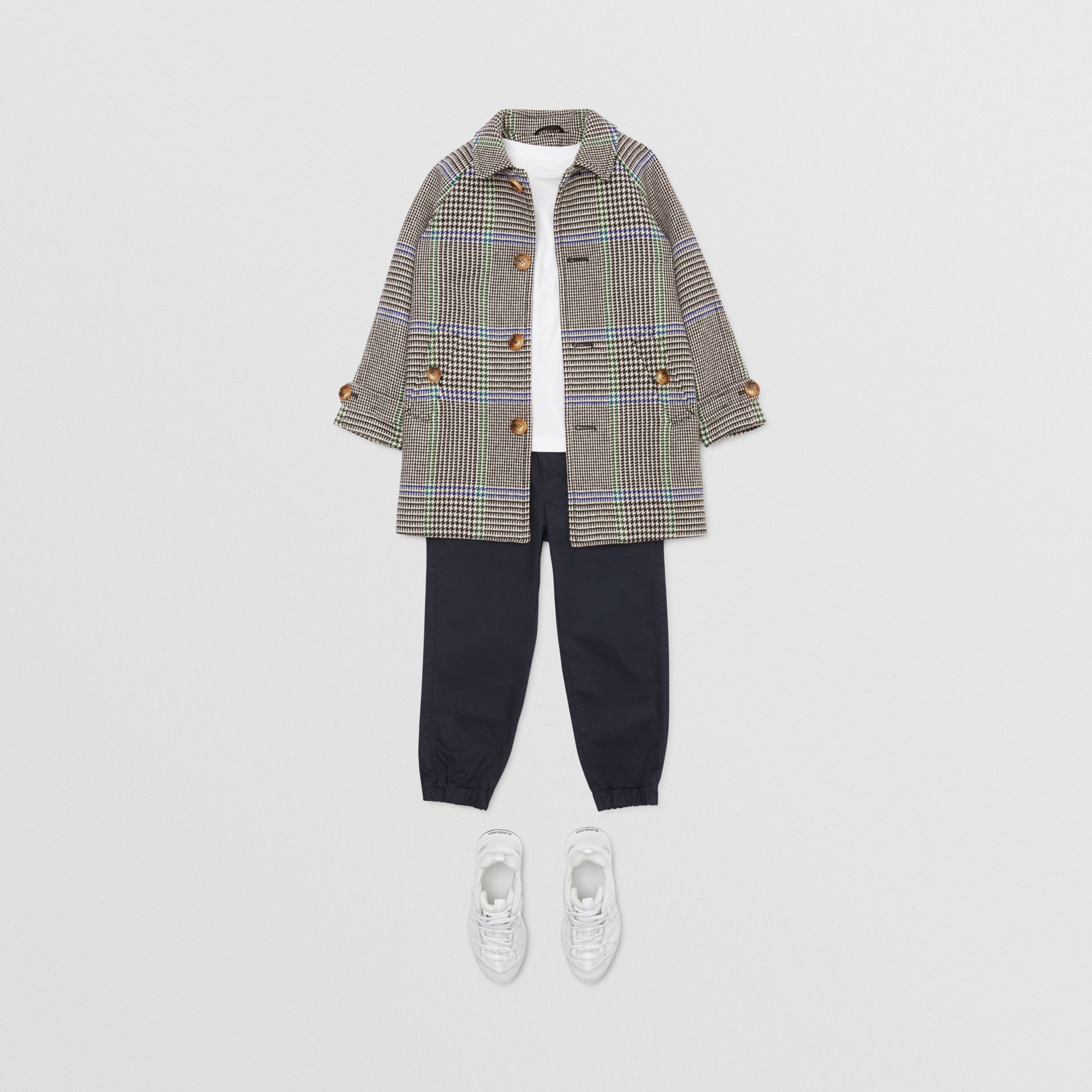 Houndstooth Check Wool Blend Car Coat in Clover Green | Burberry Hong Kong S.A.R - gallery image 2