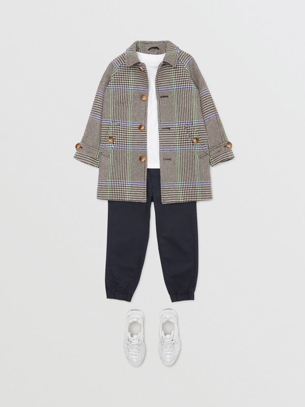 Houndstooth Check Wool Blend Car Coat in Clover Green | Burberry Hong Kong S.A.R - cell image 2