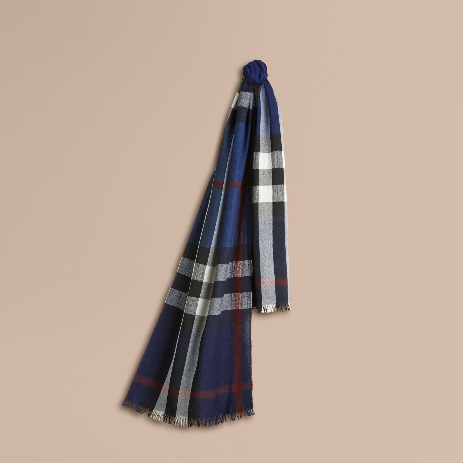 Lightweight Check Wool Cashmere Scarf Navy - gallery image 1