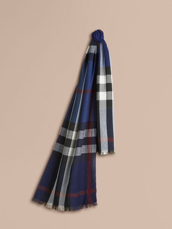 Lightweight Check Wool Cashmere Scarf Navy