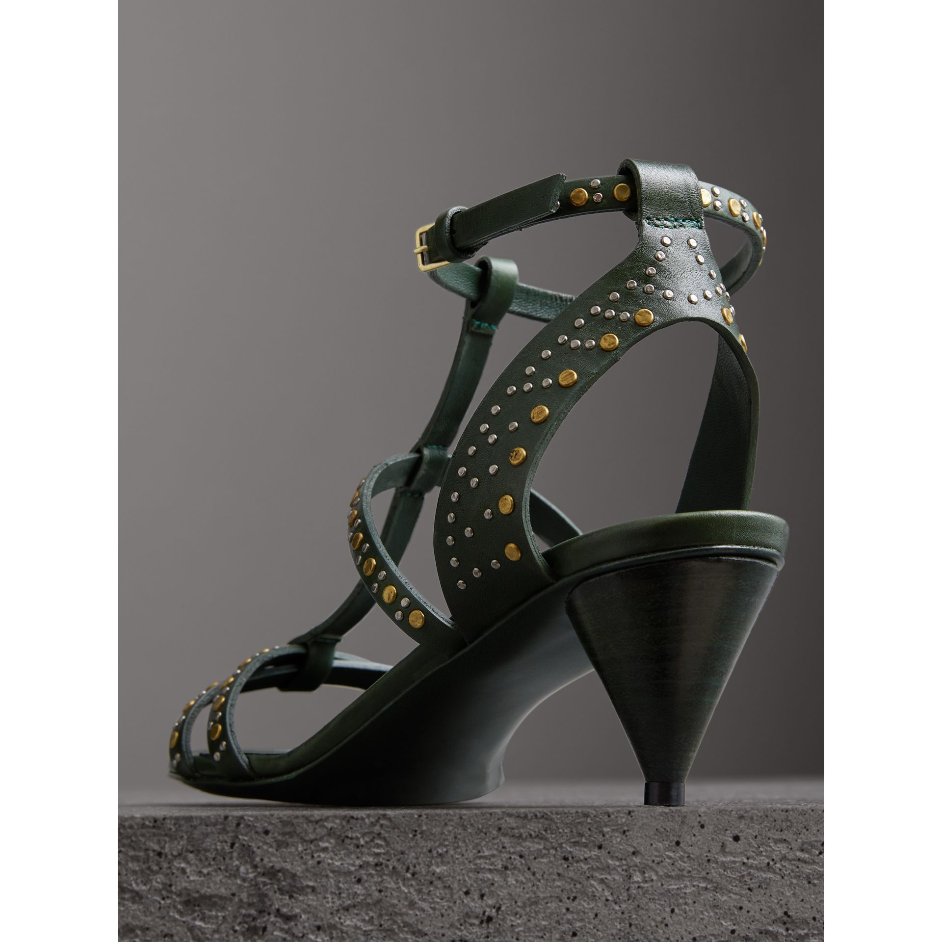 Riveted Leather Cone-heel Sandals in Dark Green - Women | Burberry United Kingdom - gallery image 3
