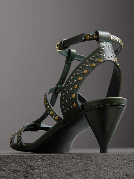 Riveted Leather Cone-heel Sandals in Dark Green - Women | Burberry United Kingdom - cell image 3