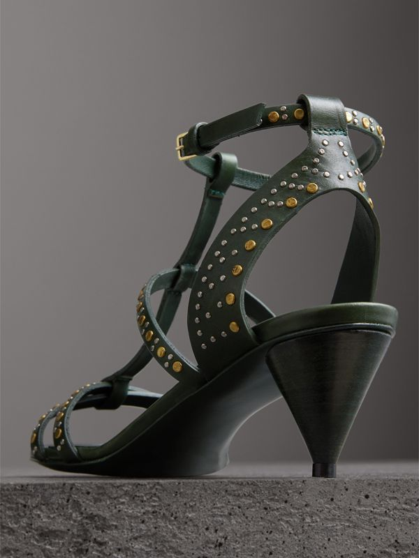 Riveted Leather Cone-heel Sandals in Dark Green - Women | Burberry - cell image 3