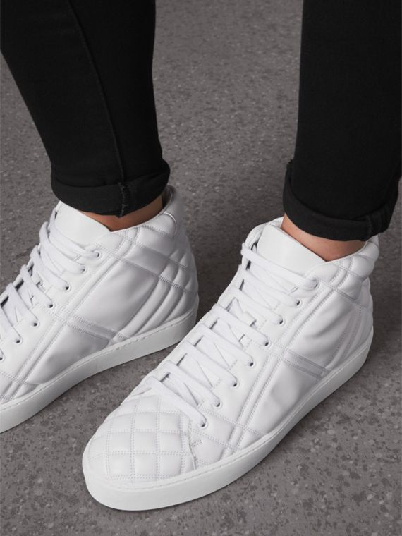 Check-quilted Leather High-top Trainers in Optic White - Women | Burberry - cell image 2