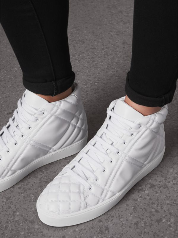 Check-quilted Leather High-top Sneakers in Optic White - Women | Burberry - cell image 2