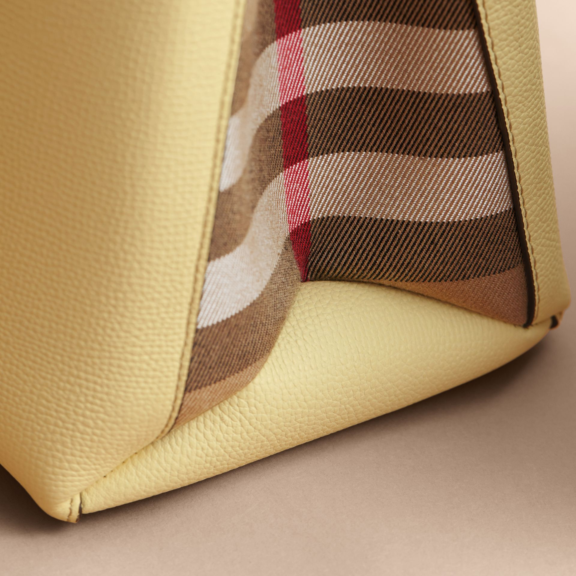 The Medium Banner in Leather and House Check in Camomile Yellow - gallery image 7