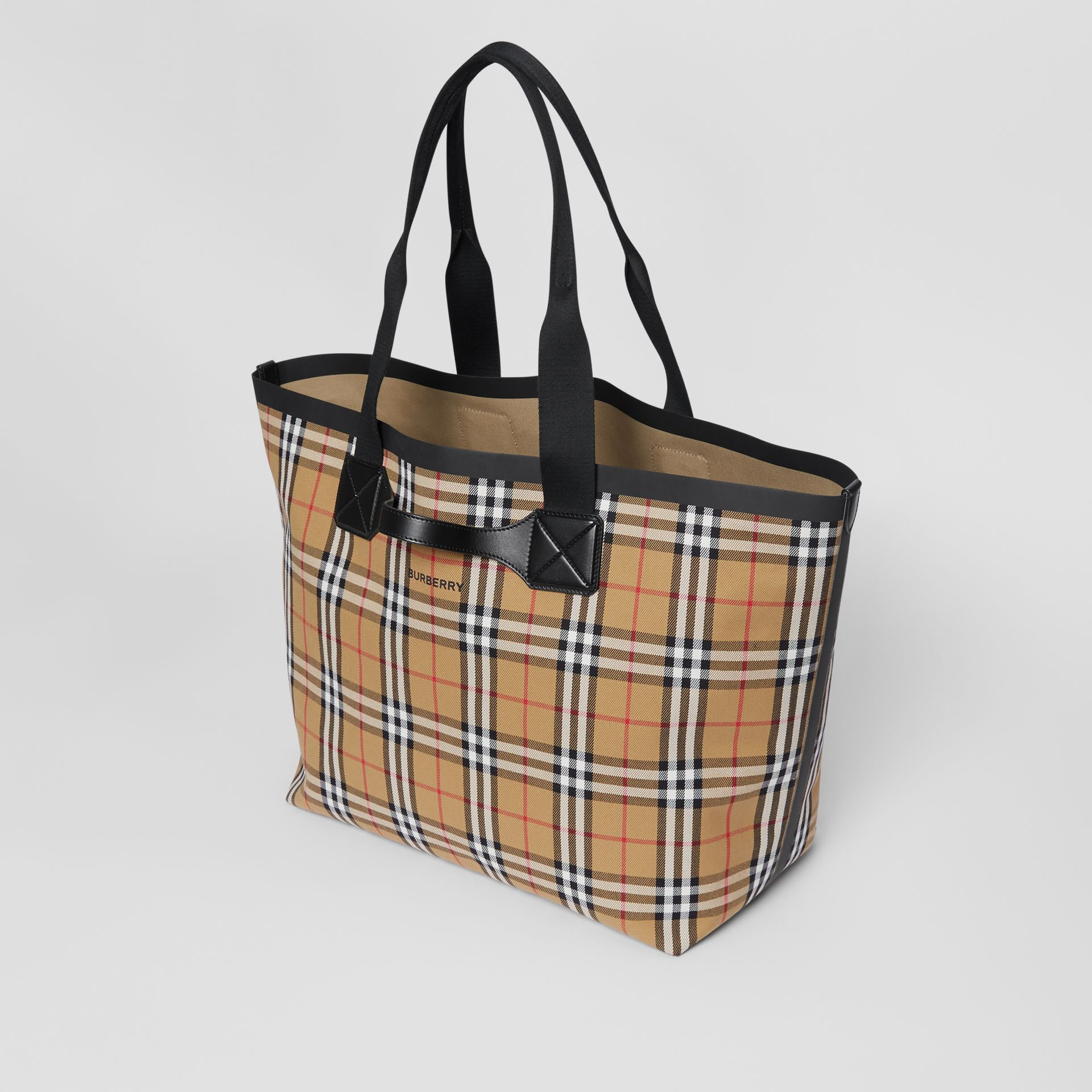 Large Vintage Check Austen Tote in Archive Beige - Women | Burberry Australia - gallery image 3