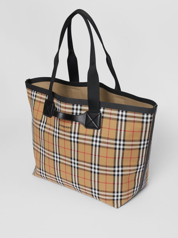 Large Vintage Check Austen Tote in Archive Beige - Women | Burberry Canada - cell image 3