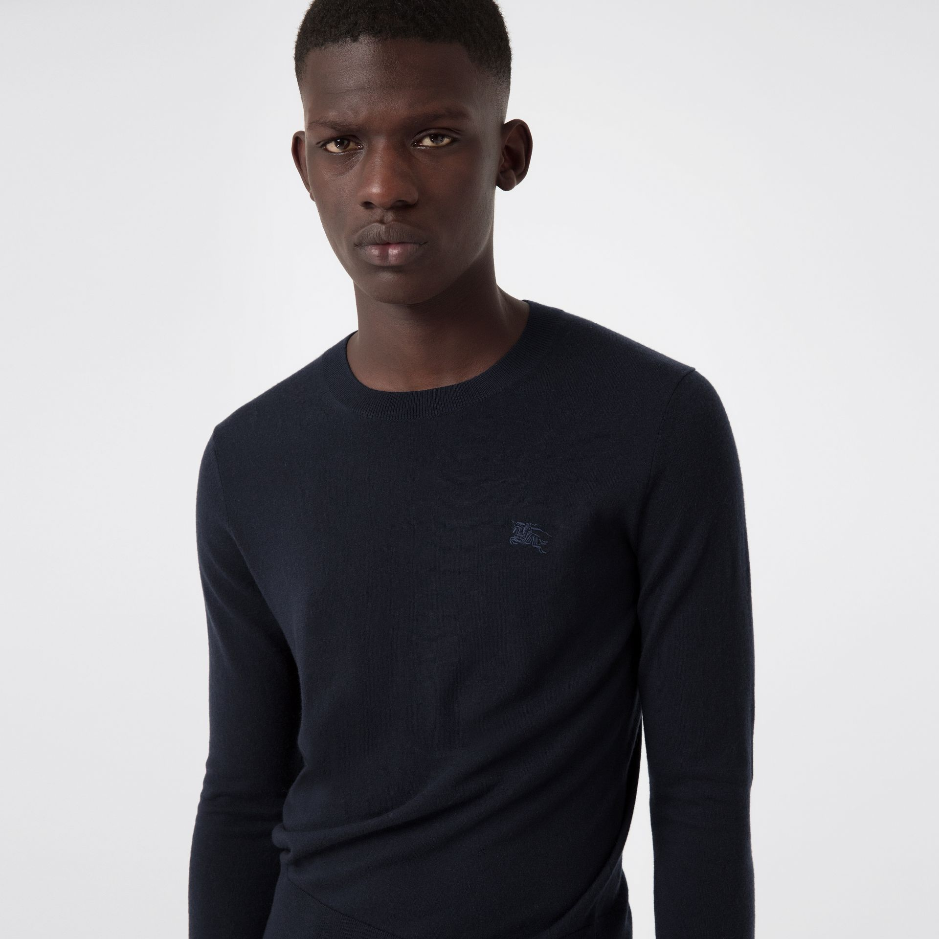 Crew Neck Cashmere Sweater in Navy - Men | Burberry United States - gallery image 1
