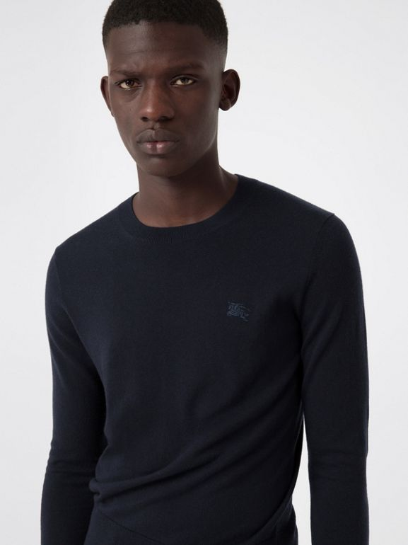 Crew Neck Cashmere Sweater in Navy - Men | Burberry United Kingdom - cell image 1