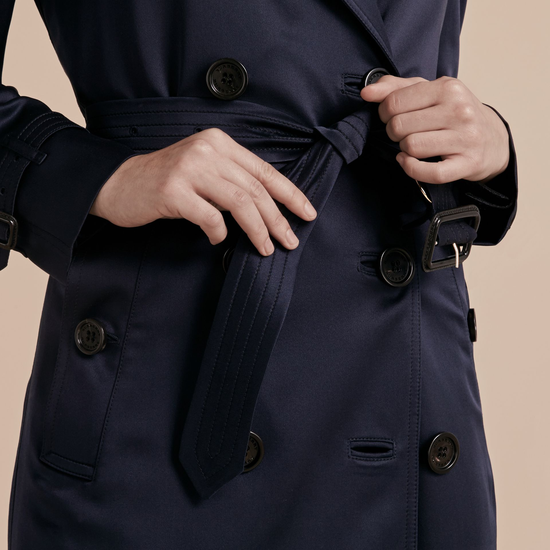 Navy Silk Trench Coat - gallery image 6