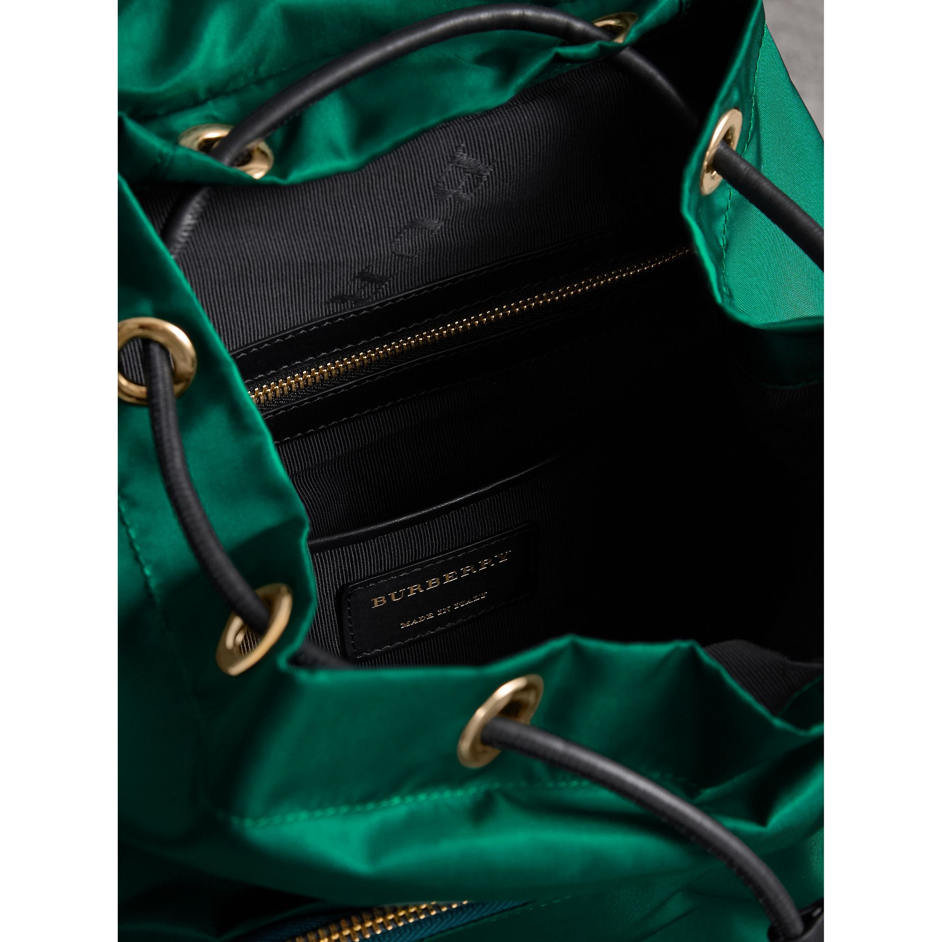 The Medium Rucksack in Technical Nylon and Leather in Pine Green - Women | Burberry - gallery image 5
