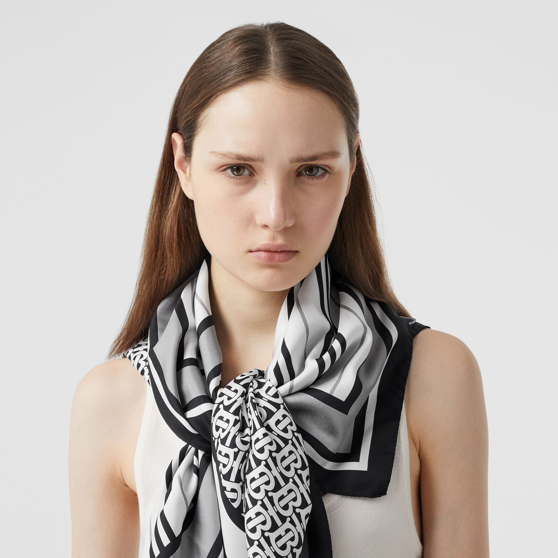 Monogram, Icon Stripe and Check Print Silk Scarf in Monochrome | Burberry - gallery image 2