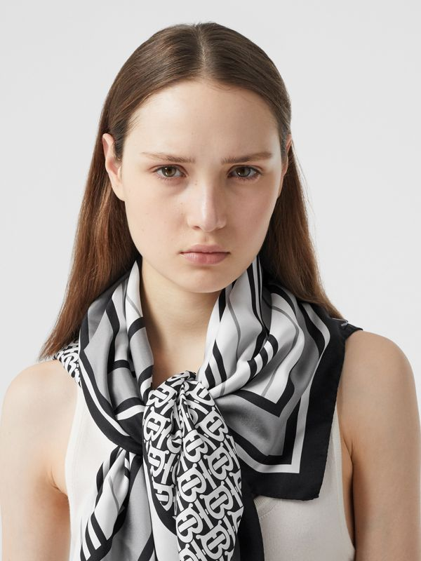 Monogram, Icon Stripe and Check Print Silk Scarf in Monochrome | Burberry - cell image 2