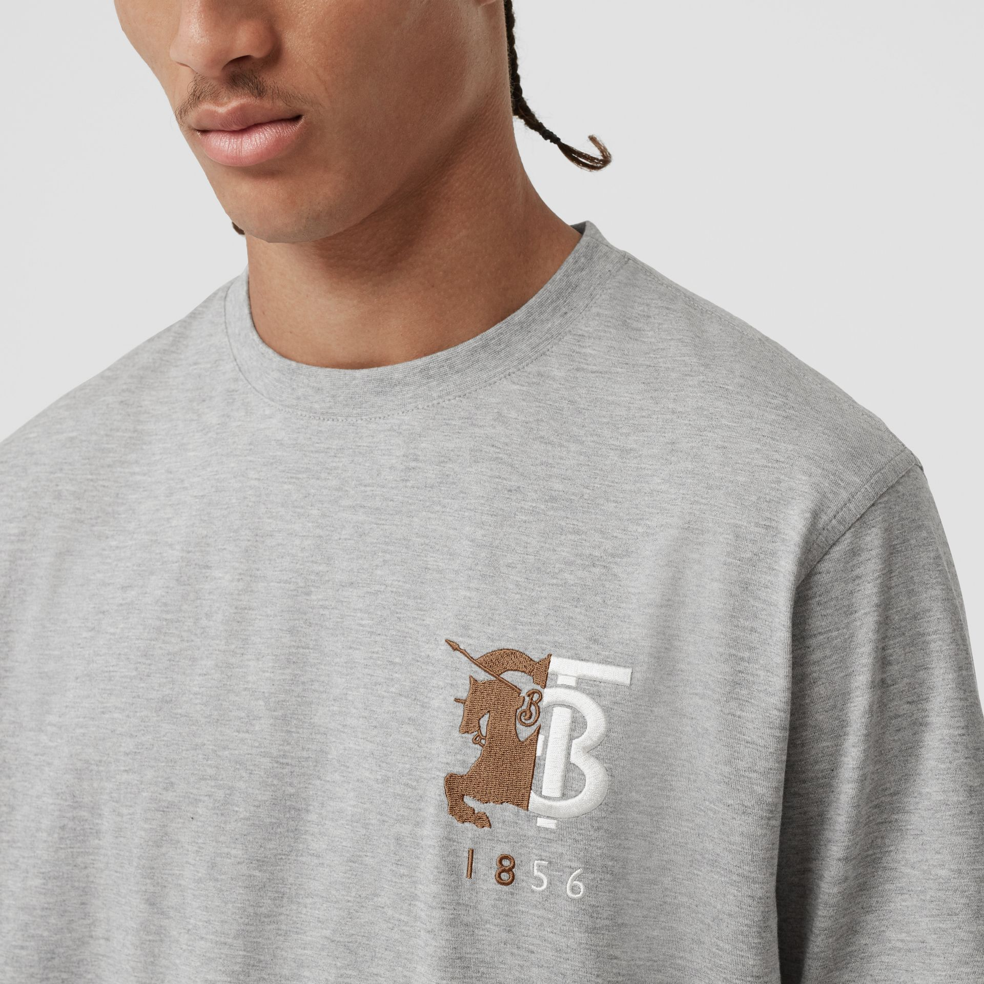 Contrast Logo Graphic Cotton T-shirt in Pale Grey Melange - Men | Burberry - gallery image 1