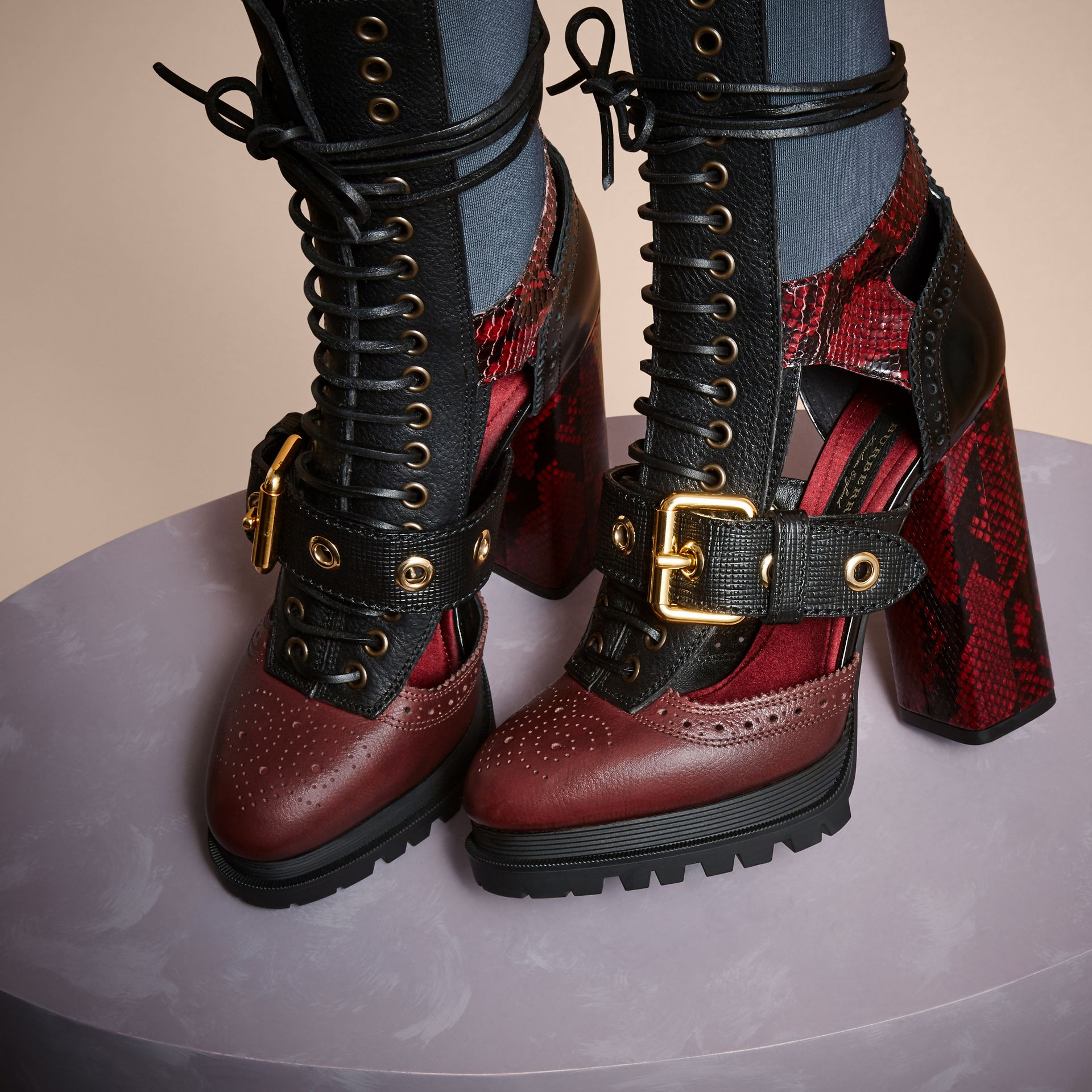 Leather and Snakeskin Cut-out Platform Boots Burgundy Red - gallery image 3