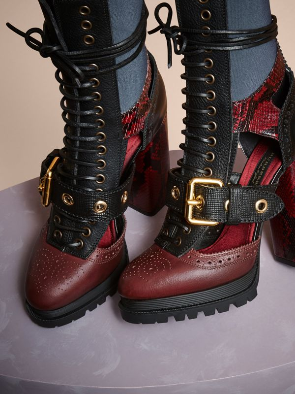 Leather and Snakeskin Cut-out Platform Boots in Burgundy Red | Burberry United States - cell image 2