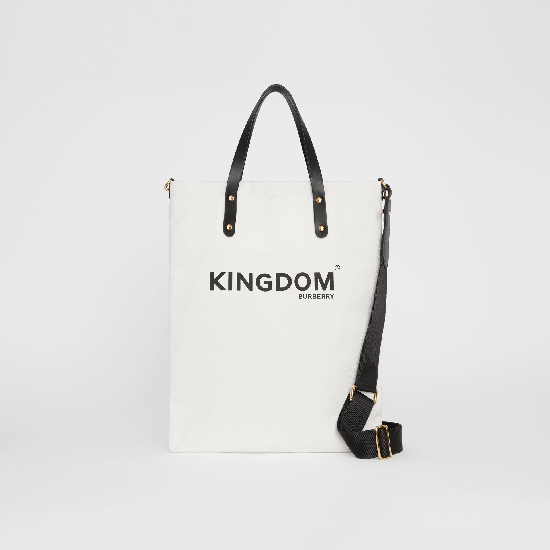 Kingdom Print Cotton Tote in Black | Burberry - gallery image 0
