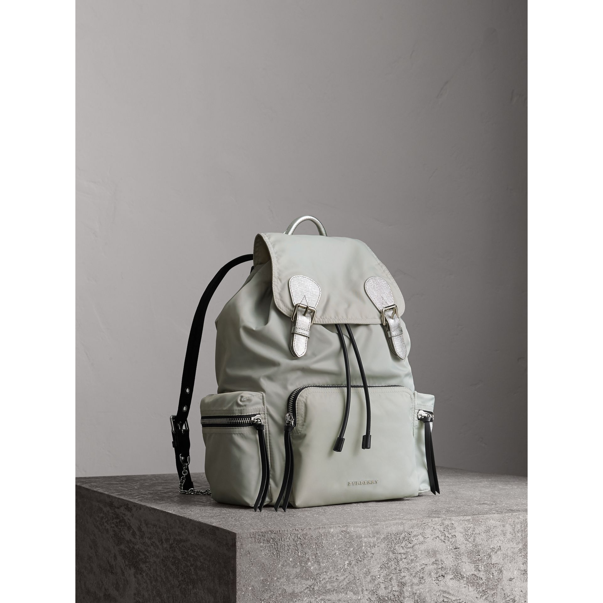 The Large Rucksack in Technical Nylon and Leather in Pale Stone/silver - Women | Burberry Australia - gallery image 7