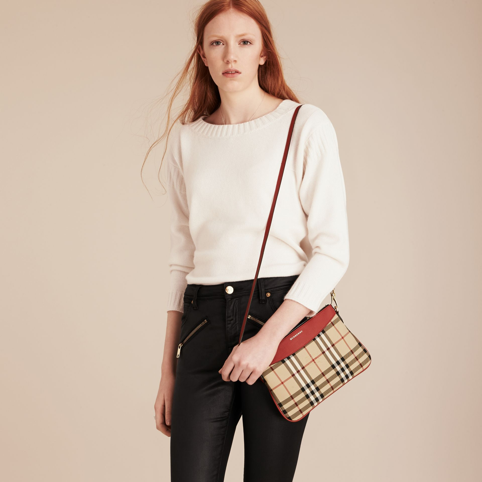 Horseferry Check and Leather Clutch Bag in Parade Red - Women | Burberry - gallery image 3
