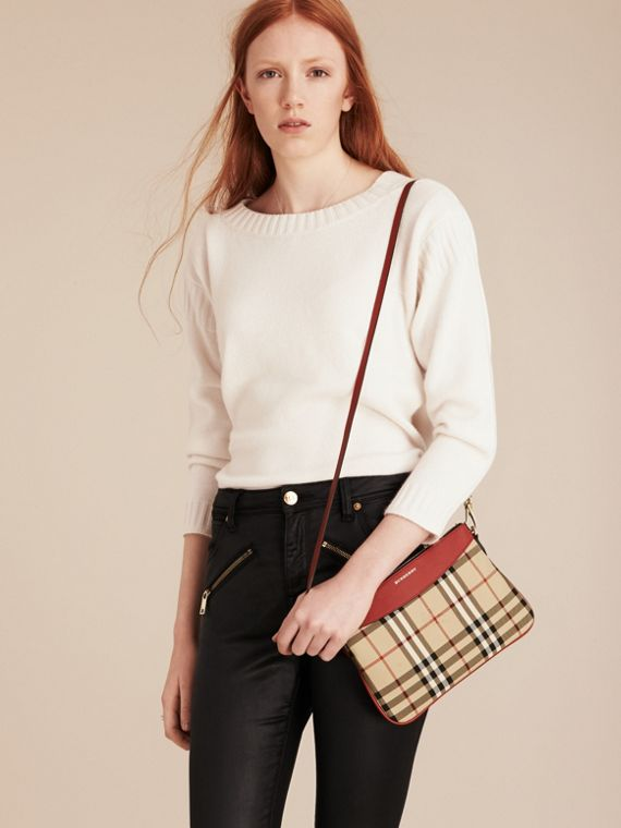 Horseferry Check and Leather Clutch Bag in Parade Red - Women | Burberry - cell image 2