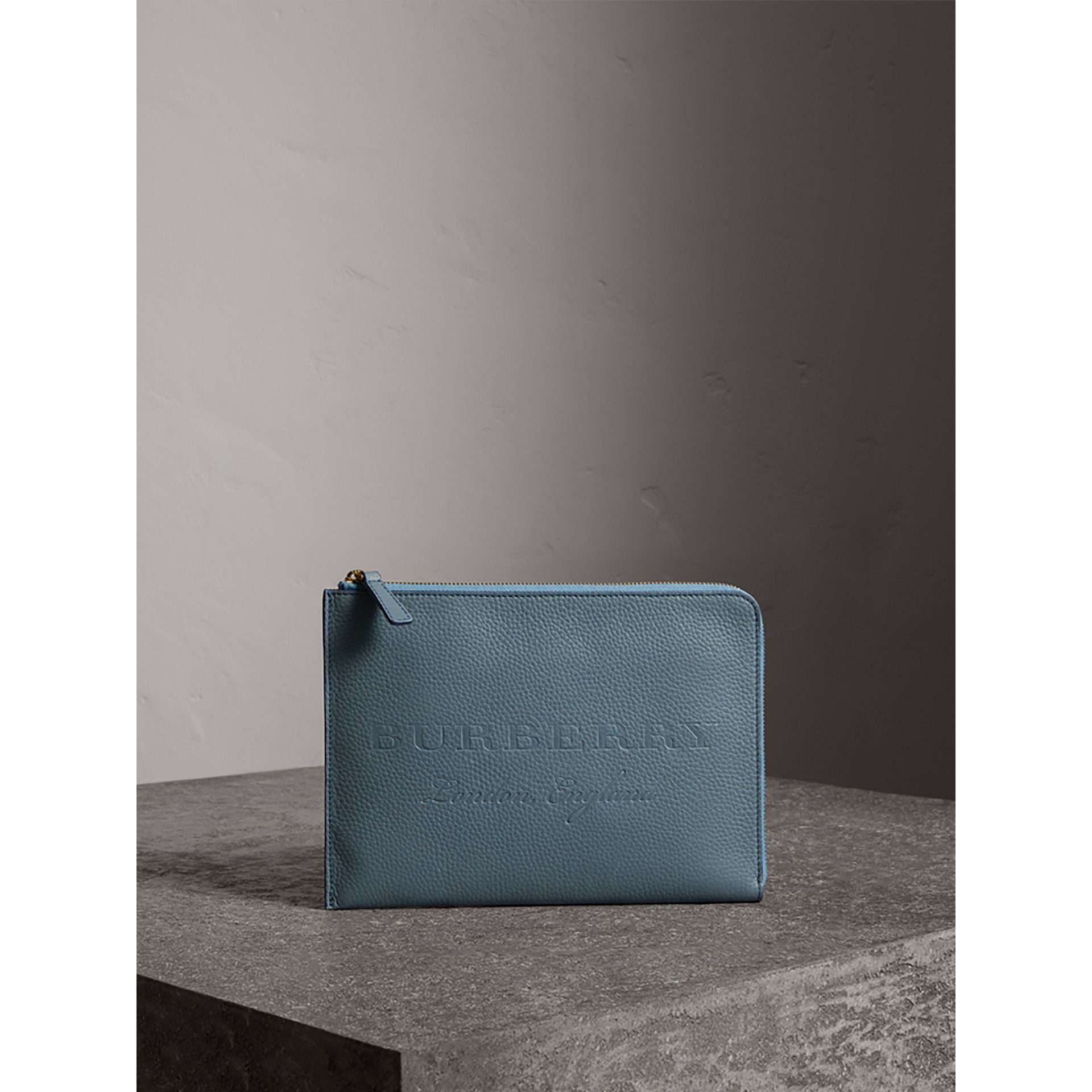 Embossed Leather Ziparound Pouch and Coin Case in Dusty Teal Blue | Burberry - gallery image 0