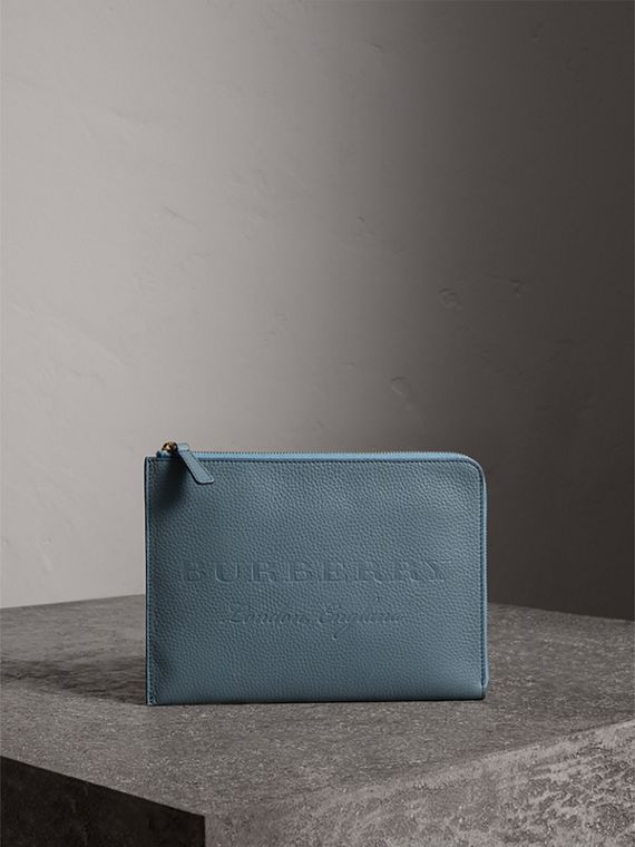 Embossed Leather Ziparound Pouch and Coin Case in Dusty Teal Blue